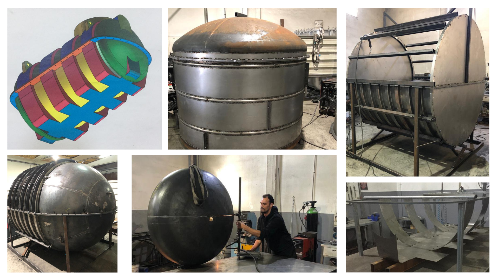 Moldes para rotomoldagem em diferentes fases, desde o projeto à fase final de produção.